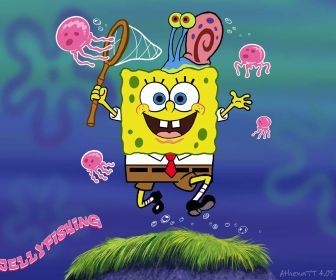 Is Referenceing The Image On Right Basicly Its A Short Animation That Sponebob Chasing Jellyfish It Also 3D Version Of SpongeBob