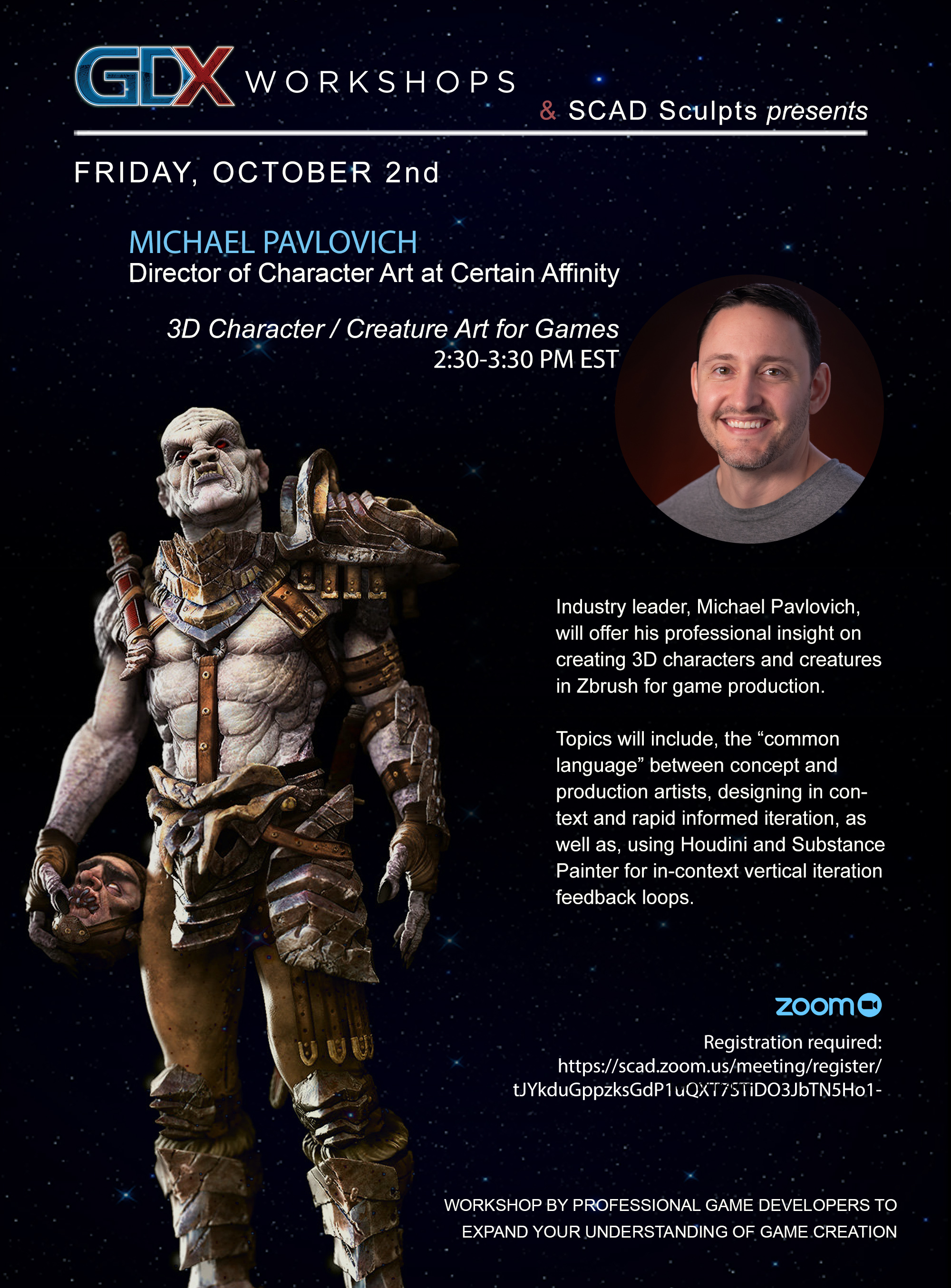 GDX Workshops & SCAD Sculpts presents – Michael Pavlovich