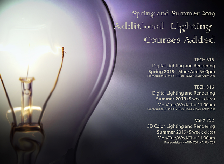 Spring and Summer 2019 Additional Lighting Courses Added